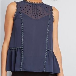 ModCloth stated appreciation sleeveless top blue s